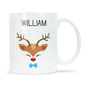 Personalised Christmas Mug CHRISTMAS HEAD BOY DEER Christmas Eve Box Filler