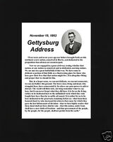 """Abraham Lincoln """" created equal"""" Gettysburg Address Black Matted Photo Picture"""