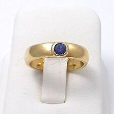 18K Gold B&N London England .24 ctw Sapphire Brittania Wedding Band Ring  Sz 7