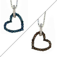 10K White Gold Diamond Heart Pendant Reversible Chocolate Brown & Blue Diamonds