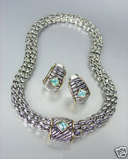 Designer Style Silver Cable Gold Blue Topaz Crystal Magnetic Mesh Necklace Set