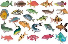 "25 X Tropical fish tile transfers stickers bright HD printed 3"" each fish"