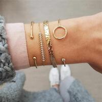 4Pcs/Set Bohemia Women Ladies Gold Crystal Round Opening Bangle Chain Bracelet