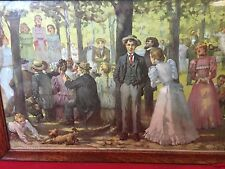 "Antique Art 1897 Lithograph ""Country Picnic"" Framed Print Victorian"