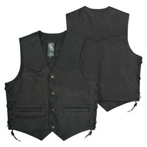 Vest Lace Up Skin Lined Containers Outside Internal Buttons Custom Chopper