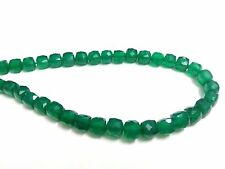 "Natural Green Onyx 3D Cube Box Briolette 6-7mm, 5"" Strand Gemstone Beads"