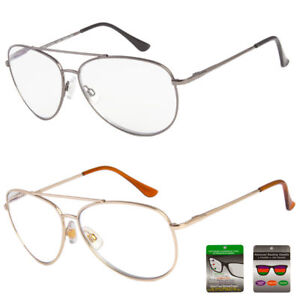 Aviator Reading Glasses No Line Bifocal Progressive Clear Lens Style New Unisex