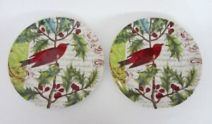 Waechtersbach Accents Nature Traditions Plates Joy RED Bird SET of 2 NEW