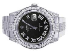 Mens Rolex Datejust II 116300 Roman Dial Iced Out 41MM Diamond Watch 10.5 Ct