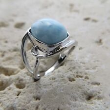 Size 7 (European Size 54) Size 7 Blue LARIMAR Ring, 925 STERLING SILVER #0540