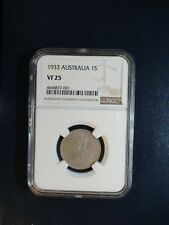 1933 Australia One Shilling NGC VF25 RARE 1S Coin PRICED TO SELL RIGHT NOW!!