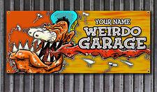 Weirdo Garage Rat Fink Style vinyl shop banner CUSTOMIZING AVAILABLE Rat Rod