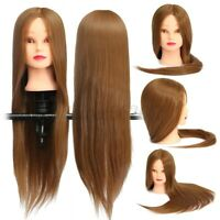 26'' Real Hair Practice Training Head Mannequin Hairdressing Doll + Clamp