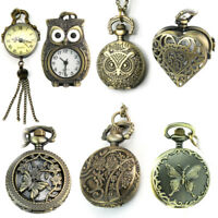 Vintage Mens Ladies Round Dial Antique Pocket Watch with Chain Pendant Necklace