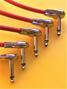 5 X10 cm Pro quality mono angled pancake jack patch leads for guitar pedal board