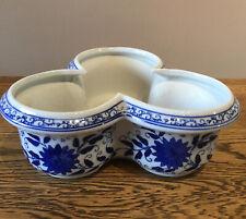 Vintage Ceramic Plant Pot. Clover Leaf Shape. Blue/white Floral