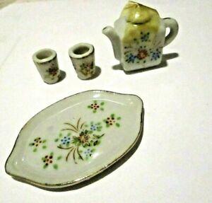 Dollhouse Miniature Japan Porcelain Tea Set For 2 Floral 1 Side Painted 1:12 Vtg