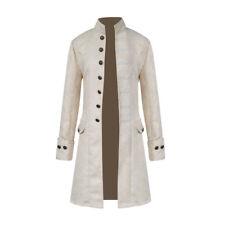 Retro Men Gothic Jacket Frock Coat Steampunk Victorian Steampunk White 2xl