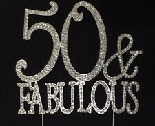 Silver Rhinestone 50 & FABULOUS 50th Birthday Party Cake Topper Decoration 50FS