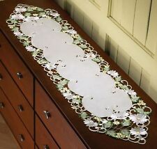 Colorful Embroidery Cut-Out Daisy Floral Design Table Runner / Dresser Scarf