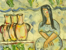 """IVAN RANE Oil On Canvas Figurative abstract """"Woman With Wine Jars"""""""