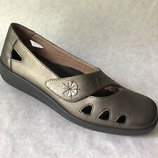 Hotter Shoes Size 10 Bliss Pewter Loafer Womens Low Heel Comfort Concept