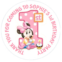 48 Personalised Minnie Mouse Stickers 1st Birthday Sweet Bag Seals 40mm Labels