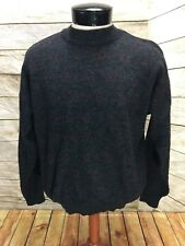 Vintage Sears Roebuck Sweater Mens Large Made in Italy Wool Blend Gray Crewneck