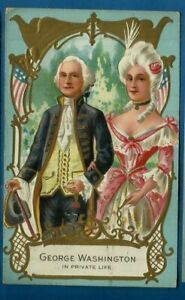 Patriotic embossed postcard/ George Washington/private life/gold throughout card