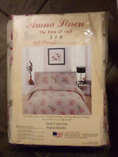 Anna Linen 8-Pc Twin Ivory Floral Quilt Cover Set New