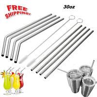 "10.5"" Long Reusable Stainless Steel Drinking Straws Metal for 30 Oz Yeti Tumbler"