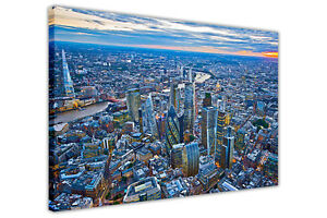 LONDON CITY AERIAL VIEW SUNSET CANVAS WALL ART PRINTS HOME DECORATION PICTURES