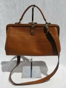 Vtg GOLDPFEIL Hand Made Germany Brown Leather Shoulder Bag Purse Medicine
