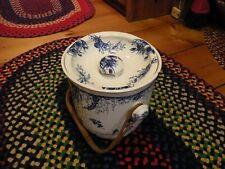 Antique Wedgwood Blue & White Chamber Pot W/ Ratan handle