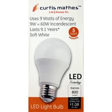 LED A19 Light Bulb 9 Watt  60W Equivalent  800 Lumens Curtis Mathes 5000k