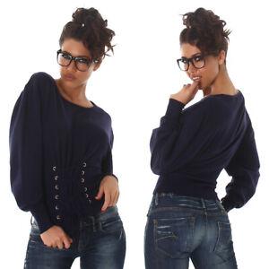 Maglione donna blu maglia maniche lunghe elegante sexy pullover invernale da per
