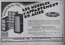 PUBLICITÉ DE PRESSE 1933 STRAFOR LES MEUBLES D'APPARTEMENT ACIER - ADVERTISING