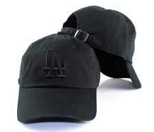 Los Angeles Dodgers American Needle LA Tonal Ballpark Black Strapback Dad Hat