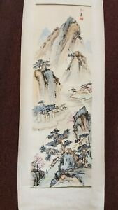 Hanging Japanese Scroll/Wall Hanging - Mountain Scene 68 x 15 Inches - Nice!!!