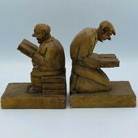 Handcrafted Wood Bookends Reading Men Sitting Kneeling Praying Vintage
