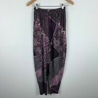 Laura Maidment Womens Pants Size Small Purple Paisley Elastic Waist Pegged
