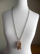 """Oblong Wood """"OWL"""" Pendant Necklace w/Antique Silvertone Chain 30"""" NWOT"""