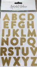 260 GOLD GLITTER ALPHABET STICKERS-VINTAGE-10 SHEETS CAPITAL LETTERS-3cm-LARGE