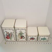 Vintage Cheinco Metal Kitchen Tin Canister Set of 4 Vegetable Motif Dated 1983