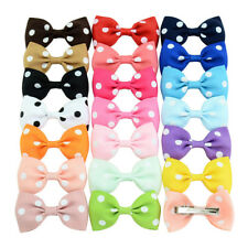 20Pcs Baby Girls Dot Hair Bows Band Boutique Alligator Clip Grosgrain Ribbon BS