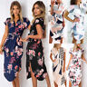 Women Beach Floral Sundress Holiday V Neck Short  Sleeve Party Midi Dress Summer