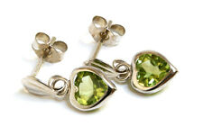 9ct White Gold peridot Heart Drop Earrings Gift Boxed Made in UK