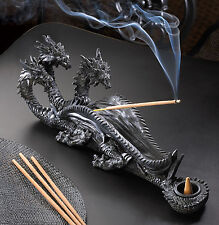 INCENSE BURNER: Sinister Triple Headed Dragon Incense Stick and Cone Holder NEW