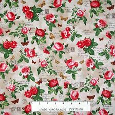Heirloom Diary Fabric - Rose Butterfly French Writing Brown  Robert Kaufman YARD