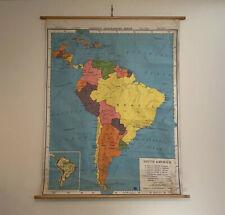 Vintage 1963 South America School Map